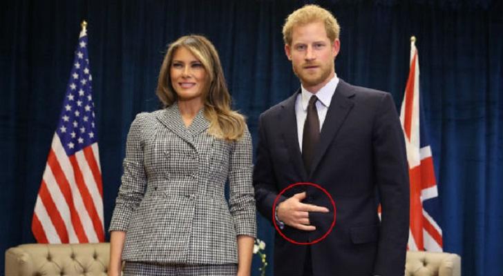 Le Prince Harry attrapé entrain de donner un signal satanique à la main avec Melania Trump