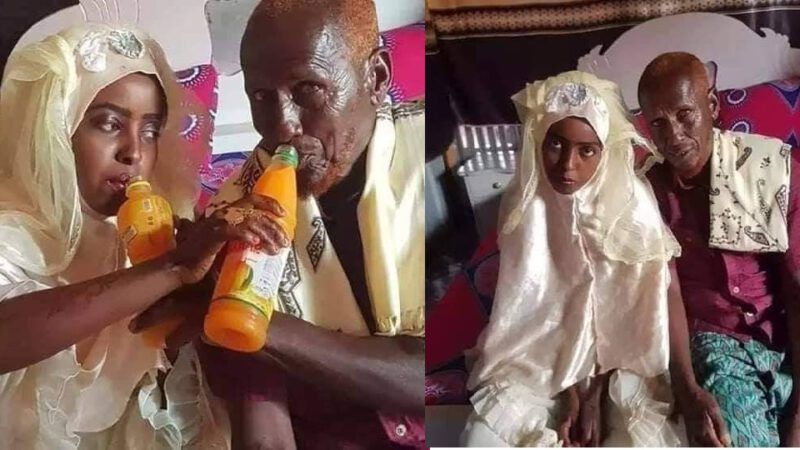77 years old man got married to 12 years old girl (photos)